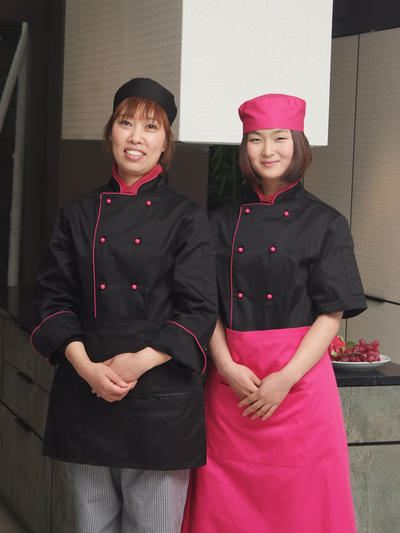 PINK PIPING LADIES CHEF COAT (CYJ01W)
